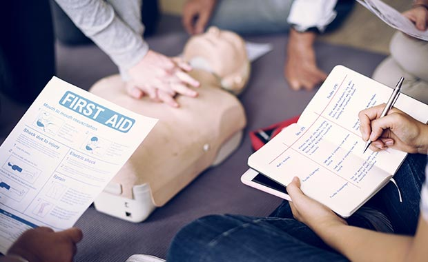 Training for first aid, patient transport, paramedic and early childhood education and care industries